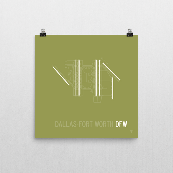 "RWY23 - DFW Dallas-Fort Worth Airport Runway Diagram Unframed Square Poster - Aviation Gift - Wall 10""x10"""