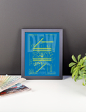 "RWY23 - DFW Dallas-Fort Worth Airport Diagram Framed Poster - Aviation Art - Birthday Gift, Christmas Gift, Home and Office Decor  - 8""x10"" Desk"