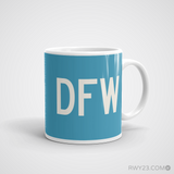 RWY23 - DFW Dallas-Fort Worth Coffee Mug - Airport Code and Runway Diagram Design - Aviation Gift Birthday Gift - Right