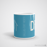 RWY23 - DFW Dallas-Fort Worth Coffee Mug - Airport Code and Runway Diagram Design - Student Gift Teacher Gift - Side