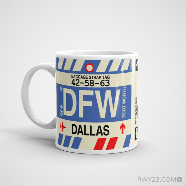 RWY23 - DFW Dallas-Fort Worth, Texas Airport Code Coffee Mug - Birthday Gift, Christmas Gift - Left