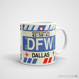 RWY23 - DFW Dallas-Fort Worth, Texas Airport Code Coffee Mug - Graduation Gift, Housewarming Gift - Right