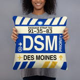 DSM Des Moines Throw Pillow • Airport Code & Vintage Baggage Tag Design