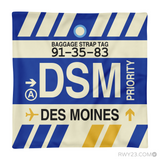 RWY23 - DSM Des Moines, Iowa Airport Code Throw Pillow - Aviation Gift Travel Gift