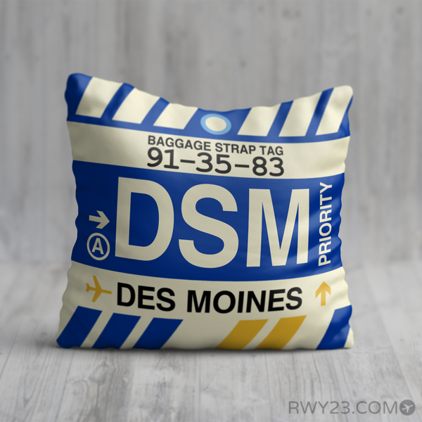 RWY23 - DSM Des Moines, Iowa Airport Code Throw Pillow - Birthday Gift Christmas Gift