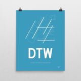 "RWY23 - DTW Detroit Airport Runway Diagram Unframed Rectangle Poster - Expat Gift - 16""x20"" Wall"