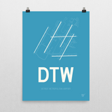 "RWY23 - DTW Detroit Airport Runway Diagram Unframed Rectangle Poster - Birthday Gift - 18""x24"" Wall"