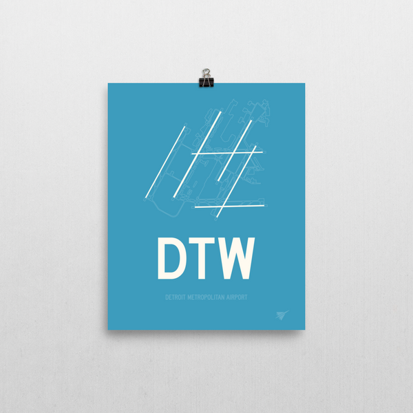 "RWY23 - DTW Detroit Airport Runway Diagram Unframed Rectangle Poster - Airport Gift - 8""x10"" Wall"