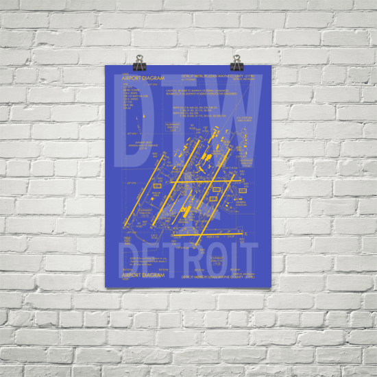 "RWY23 DTW Detroit Airport Diagram Poster 18""x24"" Brick"