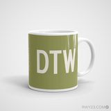 RWY23 - DTW Detroit Coffee Mug - Airport Code and Runway Diagram Design - Aviation Gift Birthday Gift - Right