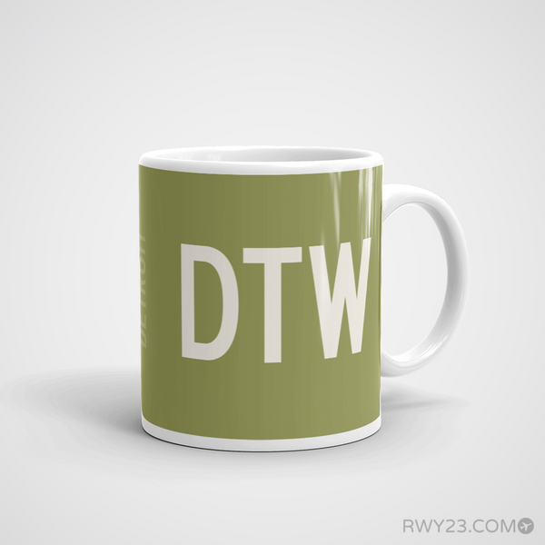 RWY23 - DTW Detroit Airport Runway Diagram Coffee Mug - Aviation Gift Birthday Gift - Right