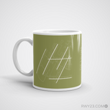 RWY23 - DTW Detroit Airport Runway Diagram Coffee Mug - Christmas Gift Travel Gift - Left