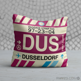 RWY23 - DUS Dusseldorf, Germany Airport Code Throw Pillow - Birthday Gift Christmas Gift