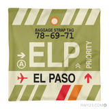 RWY23 - ELP El Paso, Texas Airport Code Throw Pillow - Aviation Gift Travel Gift
