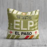 RWY23 - ELP El Paso, Texas Airport Code Throw Pillow - Birthday Gift Christmas Gift