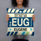 EUG Eugene Throw Pillow • Airport Code & Vintage Baggage Tag Design