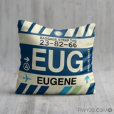 RWY23 - EUG Eugene, Oregon Airport Code Throw Pillow - Birthday Gift Christmas Gift