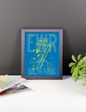 "RWY23 - EWR Newark Airport Diagram Framed Poster - Aviation Art - Birthday Gift, Christmas Gift, Home and Office Decor  - 8""x10"" Desk"