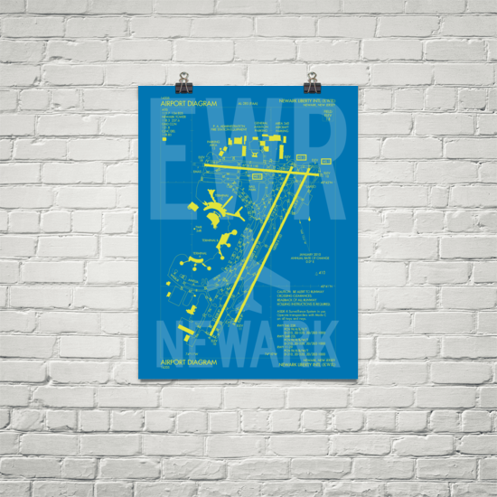 "RWY23 - EWR Newark Airport Diagram Poster - Aviation Art - Birthday Gift, Christmas Gift, Home and Office Decor - 18""x24"" Brick"