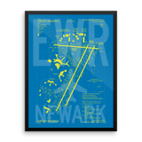 "RWY23 - EWR Newark Airport Diagram Framed Poster - Aviation Art - Birthday Gift, Christmas Gift, Home and Office Decor - 18""x24"" Wall"