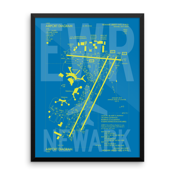 "RWY23 EWR Newark Airport Diagram Framed Poster 18""x24"" Wall"