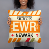 EWR Newark Airport Code Throw Pillow - Vintage Baggage Tag Design
