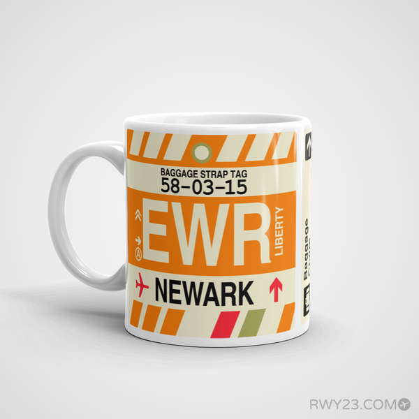 RWY23 - EWR Newark Airport Code Coffee Mug - Birthday Gift, Christmas Gift - Left