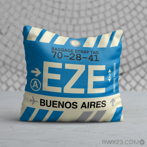 RWY23 - EZE Buenos Aires, Argentina Airport Code Throw Pillow - Birthday Gift Christmas Gift