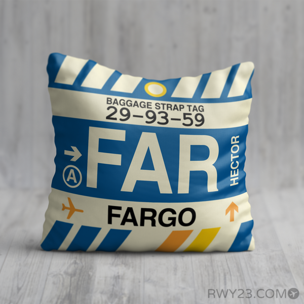 RWY23 - FAR Fargo, North Dakota Airport Code Throw Pillow - Birthday Gift Christmas Gift