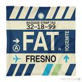 RWY23 - FAT Fresno, California Airport Code Throw Pillow - Aviation Gift Travel Gift