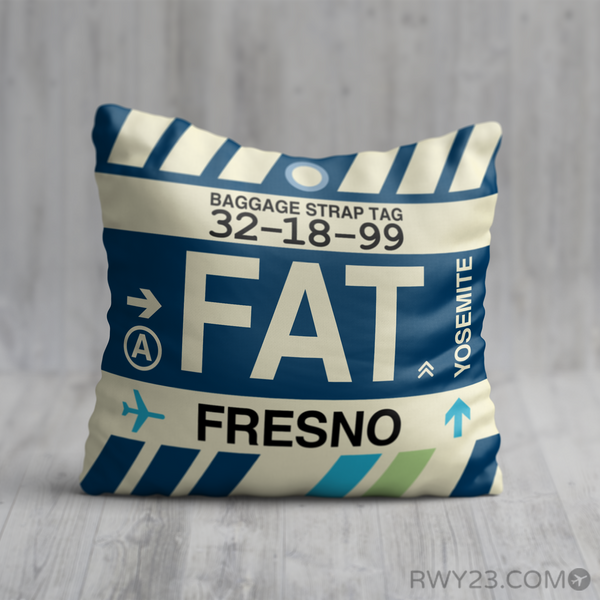 RWY23 - FAT Fresno, California Airport Code Throw Pillow - Birthday Gift Christmas Gift