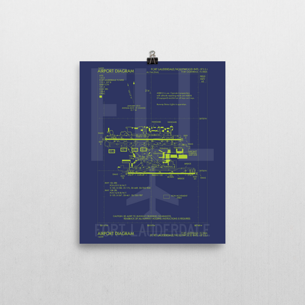 "RWY23 - FLL Fort Lauderdale Airport Diagram Poster - Aviation Art - Birthday Gift, Christmas Gift, Home and Office Decor  - 8""x10"" Wall"