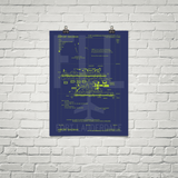 "RWY23 - FLL Fort Lauderdale Airport Diagram Poster - Aviation Art - Birthday Gift, Christmas Gift, Home and Office Decor - 18""x24"" Brick"