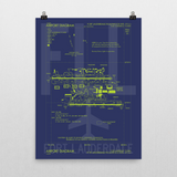 "RWY23 - FLL Fort Lauderdale Airport Diagram Poster - Aviation Art - Birthday Gift, Christmas Gift, Home and Office Decor - 18""x24"" Wall"
