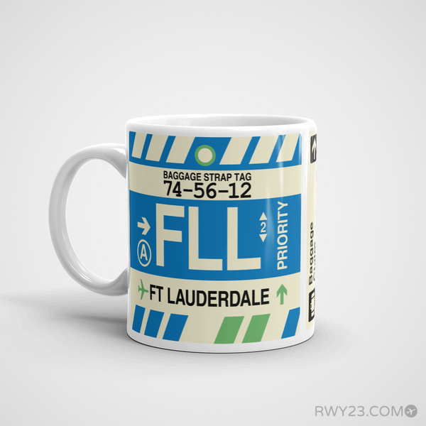 RWY23 - FLL Fort Lauderdale Airport Code Coffee Mug - Birthday Gift, Christmas Gift - Left