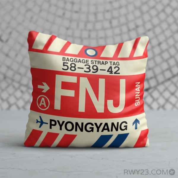 RWY23 - FNJ Pyongyang, North Korea Airport Code Throw Pillow - Birthday Gift Christmas Gift