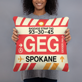 RWY23 - GEG Spokane, Washington Airport Code Throw Pillow - Birthday Gift Christmas Gift - Lady