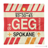 RWY23 - GEG Spokane, Washington Airport Code Throw Pillow - Aviation Gift Travel Gift