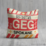 RWY23 - GEG Spokane, Washington Airport Code Throw Pillow - Birthday Gift Christmas Gift