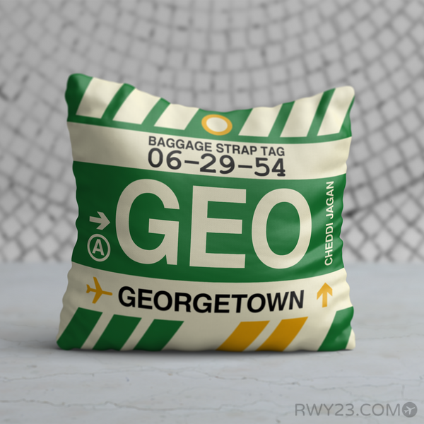 RWY23 - GEO Georgetown, Guyana Airport Code Throw Pillow - Birthday Gift Christmas Gift