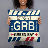 GRB Green Bay Airport Code Throw Pillow - Vintage Baggage Tag Design