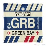 RWY23 - GRB Green Bay, Wisconsin Airport Code Throw Pillow - Aviation Gift Travel Gift