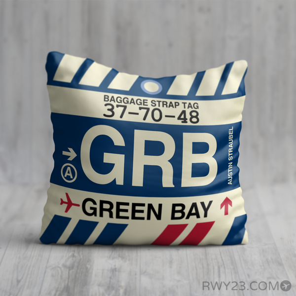RWY23 - GRB Green Bay, Wisconsin Airport Code Throw Pillow - Birthday Gift Christmas Gift