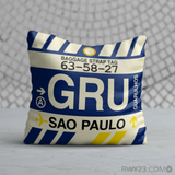 RWY23 - GRU Sao Paulo, Brazil Airport Code Throw Pillow - Birthday Gift Christmas Gift