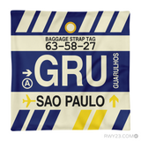 RWY23 - GRU Sao Paulo, Brazil Airport Code Throw Pillow - Aviation Gift Travel Gift