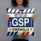 RWY23 - GSP Greenville-Spartanburg, South Carolina Airport Code Throw Pillow - Birthday Gift Christmas Gift - Lady