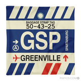 RWY23 - GSP Greenville-Spartanburg, South Carolina Airport Code Throw Pillow - Aviation Gift Travel Gift