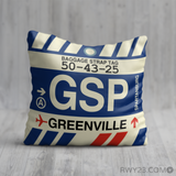 RWY23 - GSP Greenville-Spartanburg, South Carolina Airport Code Throw Pillow - Birthday Gift Christmas Gift