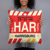 RWY23 - HAR Harrisburg, Pennsylvania Airport Code Throw Pillow - Birthday Gift Christmas Gift - Lady