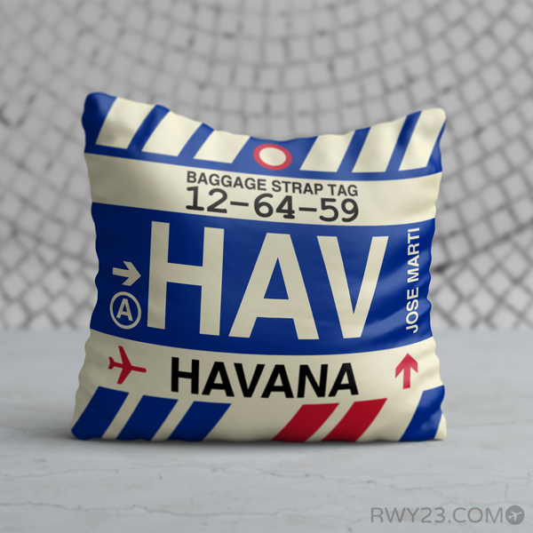 RWY23 - HAV Havana, Cuba Airport Code Throw Pillow - Birthday Gift Christmas Gift